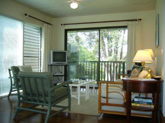 Pilialoha Cottage: Living room with deck through the sliding door.