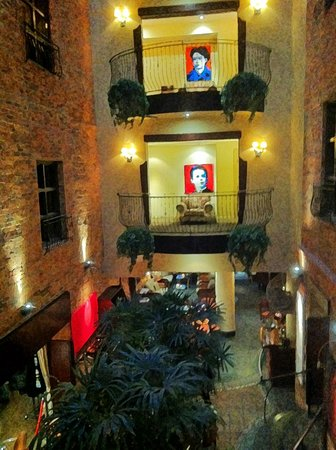 Hotel Nelligan: looking accross from the second floor down to the bar.