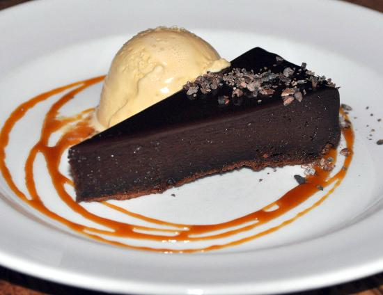 Greens Restaurant: Flourless Chocolate Torte with Salted Caramel Ice Cream and Cocao nibs
