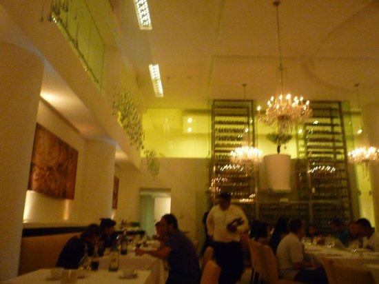 Playacar Palace: WIne rack in Italian restaurant