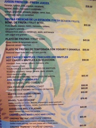 Lindo Mar Resort: Menu from La Playita
