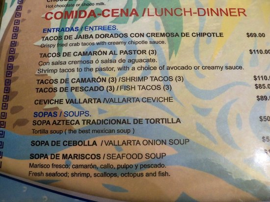 Lindo Mar Resort: Restaurant lunch menu