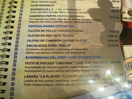 Lindo Mar Resort: More menu from La Playita
