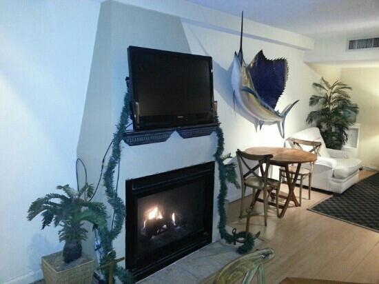 إن أون دستين هاربور: lobby fireplaces