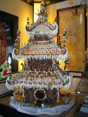 Sweet Breads: Amazing gingerbread house greets you as you enter.