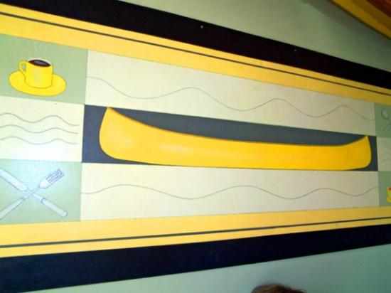 Yellow Canoe Cafe: And the lithograph of the yellow canoe below it.