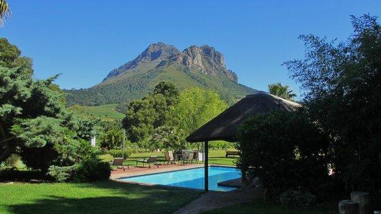 Orange-Ville Guesthouse: Blick zum Pool und angrenzenden Bergen