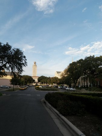 AT&T Executive Education and Conference Center: UT Tower from street in front of hotel