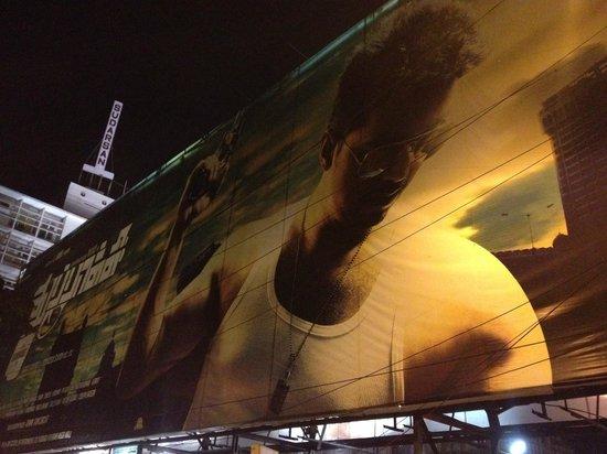 Sathyam Cinemas : Thupakki's hugh poster outside cinema hall