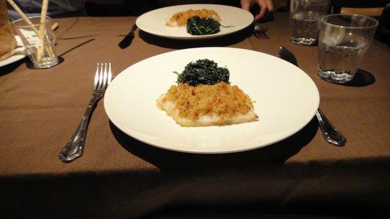 Palazzina: Filetto di Halibut al forno con contorno di Spinaci tirati al burro