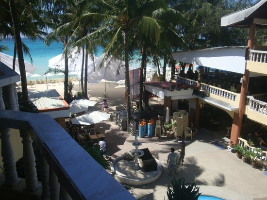 Boracay Peninsula Resort: the beach; breakfast served at the 2nd floor balcony (right side of picture)