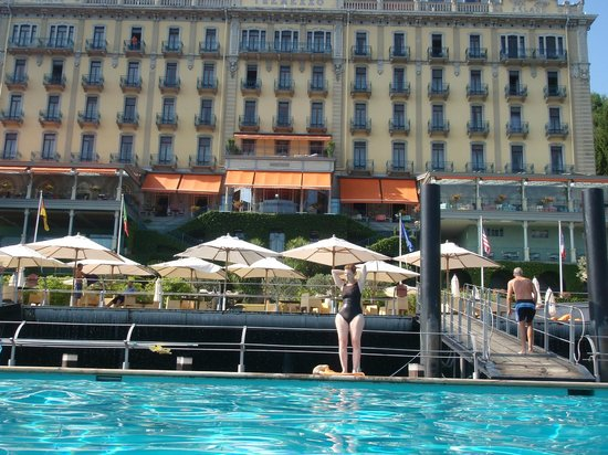 "Grand Hotel Tremezzo: view of the ""beach"" and the hotel from the floating pool"