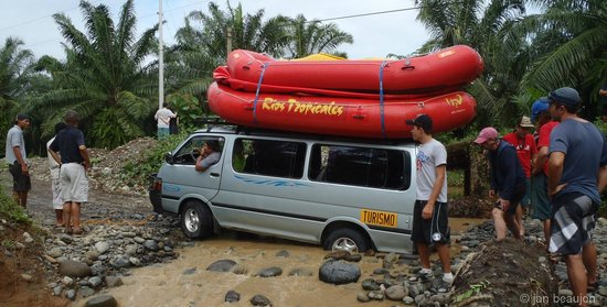 H2O Adventures: Part of the fun, pushing your transportationout across the river