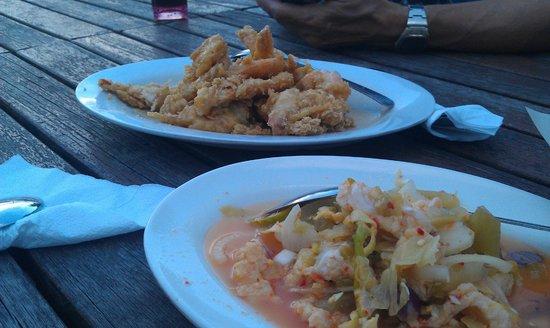 My Village Barok: Butter prawns (dish in center), Umai Ikan (dish at bottom right)