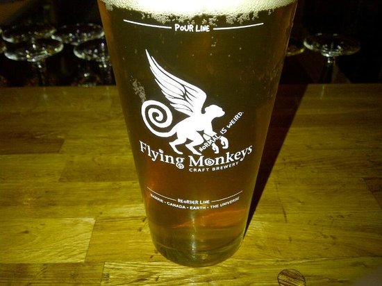 Brothers Beer Bistro: Flying Monkeys is one of the many local beers....