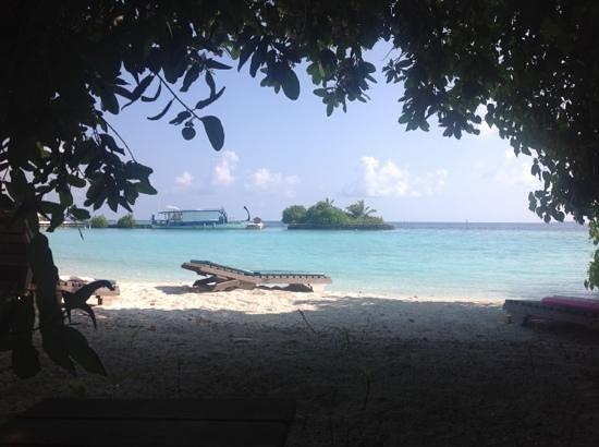 """Makunudu Island: Vue de la jetée du """"port"""" à partir de notre bungalow"""