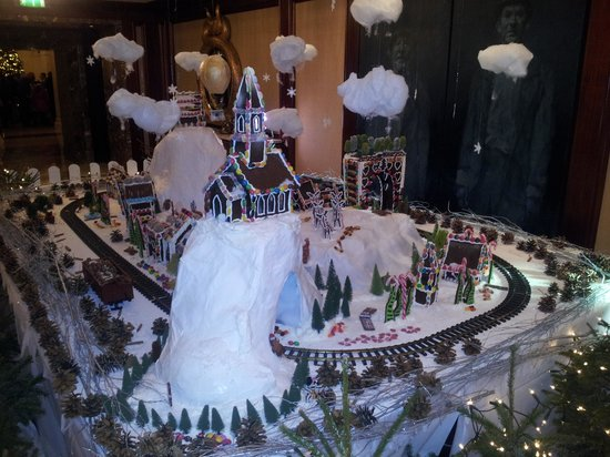 The Shelbourne, Autograph Collection: Some Christmas Decorations with Train Set out side their Museum