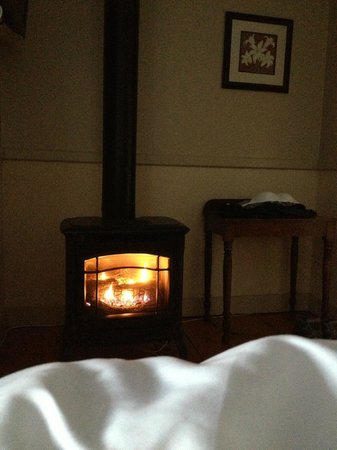 Brass Lantern Inn: Cozy gas fireplace
