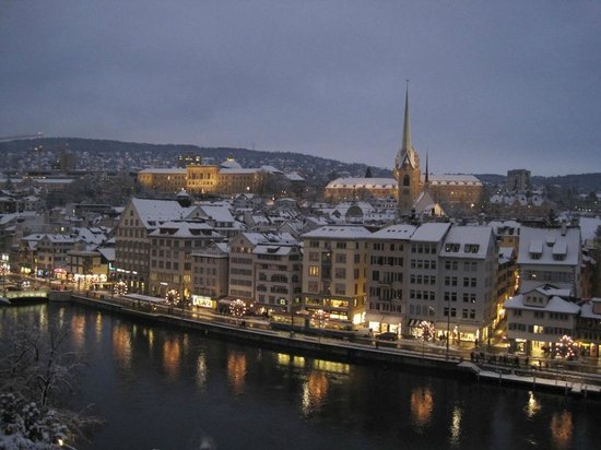 The view over Zürich old town and Limmat River from Lindenhof