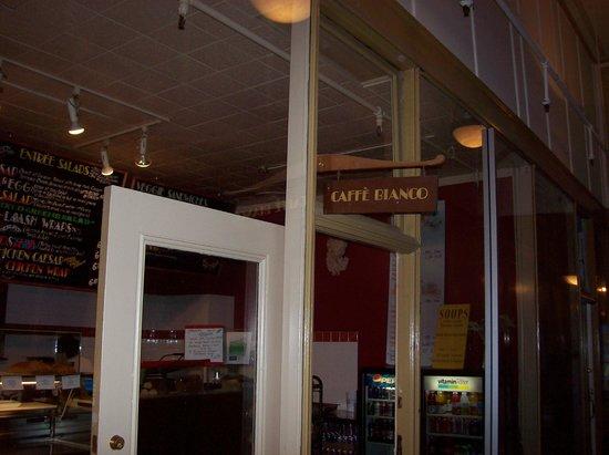 Caffe Bianco - Entrance from Ritchie-Chancery Bldg. Hallway, Chalkboard Menu upper left