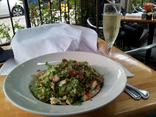 Cafe 140 South: A glass of bubbly with my cobb salad.