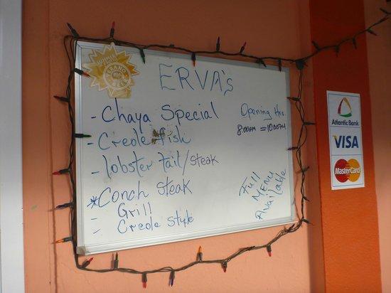 Erva's: Daily specials