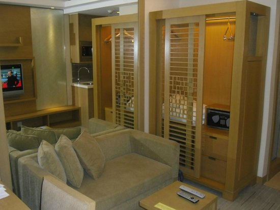 Royal View Hotel: View of couch, closet, kitchenette