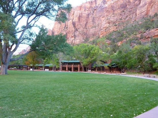 Zion Lodge: Main buildings and lawn.