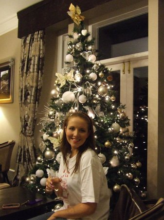 New Dungeon Ghyll Hotel: Drinks in front of open fire and Christmas tree.