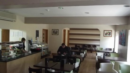 Flavours coffee bar: clean, fresh, modern, relaxing, seats 44.