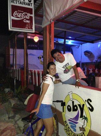 Toby's Restaurant: Toby's at night with local friend