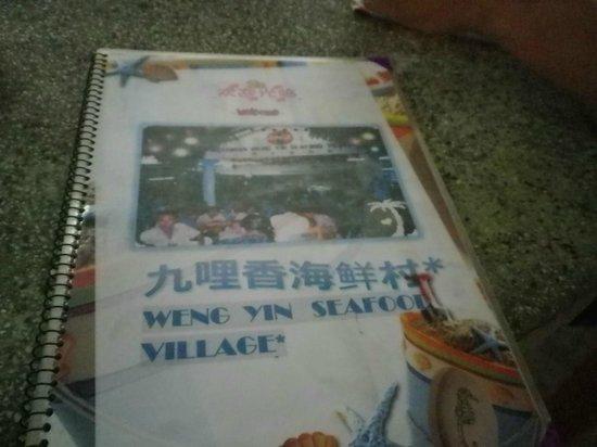 Weng Yin Seafood Village: メニュー表紙