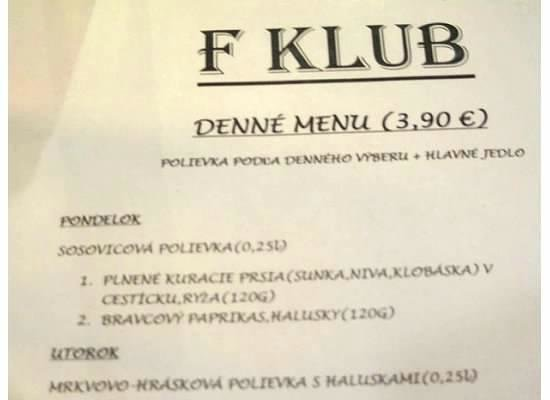 Klub F: Daily Specials, notice the price:)