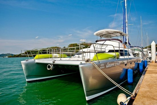 Epic Charters: Our Flagship catamaran at the Marina dock