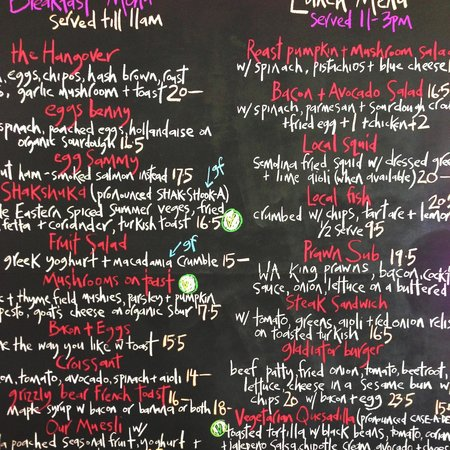 Emu Point Cafe: Summer menu