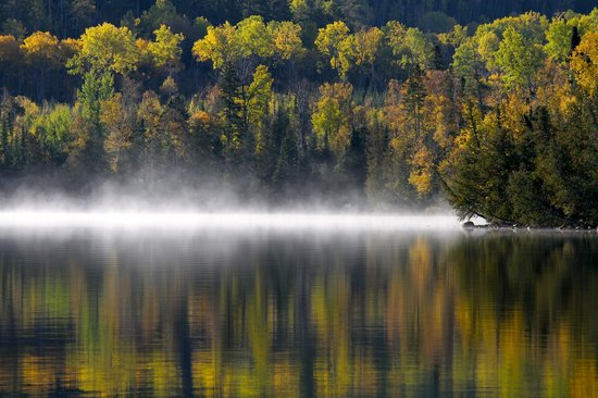 Hungry Jack Lodge & Campground: Morning mist across the lake from the cabin