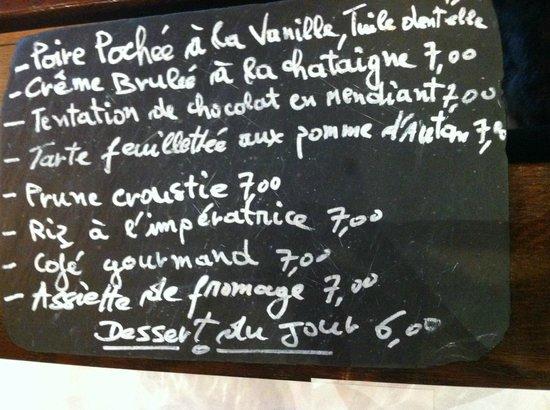 La Petit Perigourdin: The desert menu