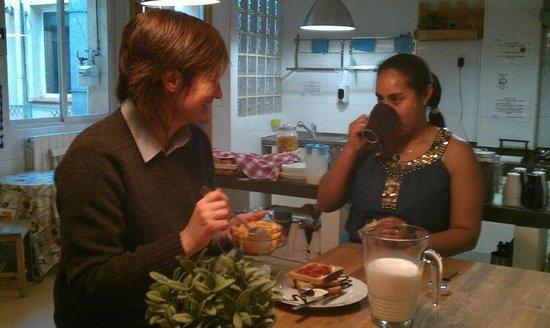 Having breakfast at Los Amigos Hostel in Madrid