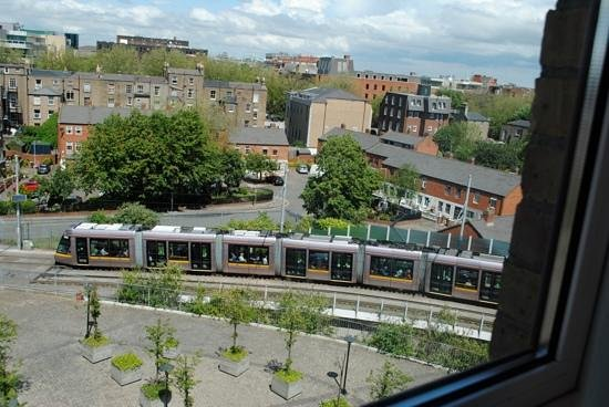 Hilton Dublin: Our room's view of the LUAS