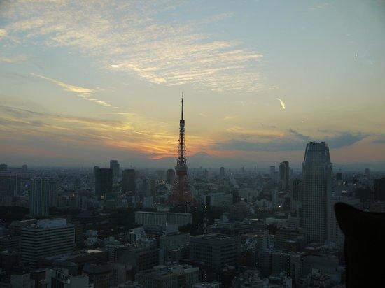 Park Hotel Tokyo: Sun setting behind Mt Fuji