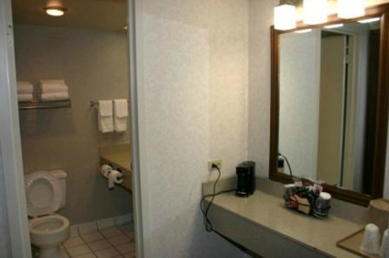 Quality Inn Central Denver: Counter & Mirror outside bathroom