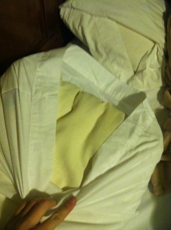 Americas Best Value Inn & Suites - Royal Carriage : Cabin 4 yellow pillows.