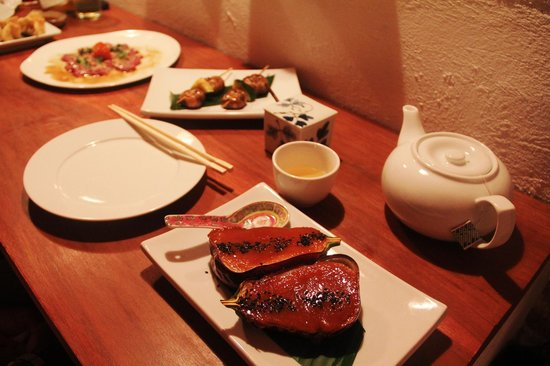 Izakaya: My 3 favorite dishes: Tiradito de pescado, Hongos w/ Zucchini & Caramelized Eggplant