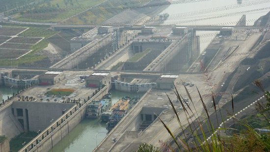 Three Gorges Dam Project: Ship Lock with Ships