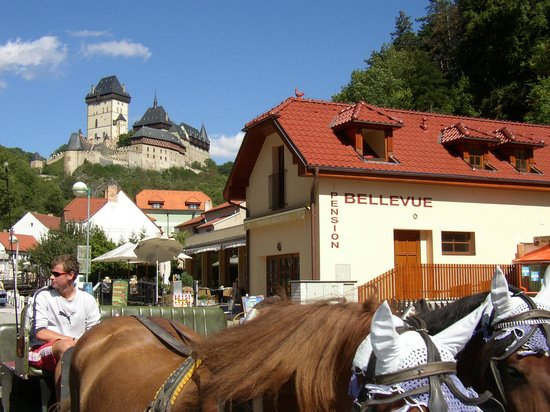 Pension Bellevue : horse carriage to the castle
