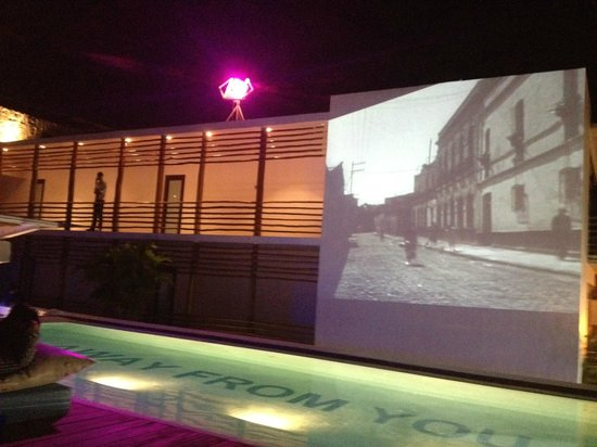 Deseo Hotel : Projections at night, super cool.