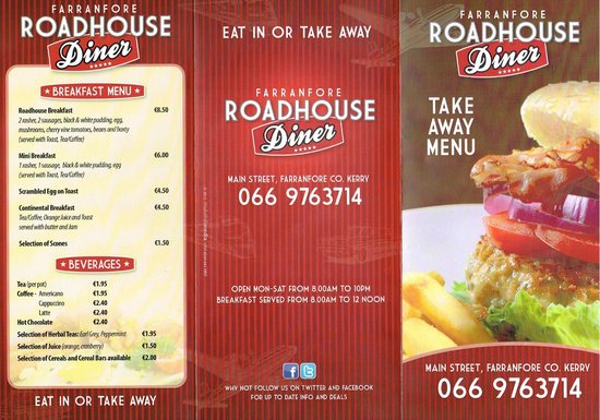Farranfore, Irlanda: Roadhouse Menu
