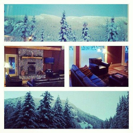 Hemlock Hollow Mountain Accommodations: living room and view from deck (top pic)