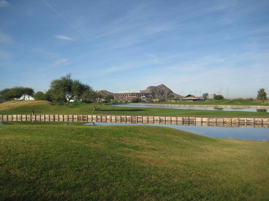 ASU Karsten Golf Course: Railroad ties and water.