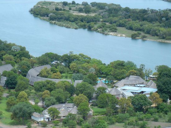A'Zambezi River Lodge: Another arial view from behind the hotel